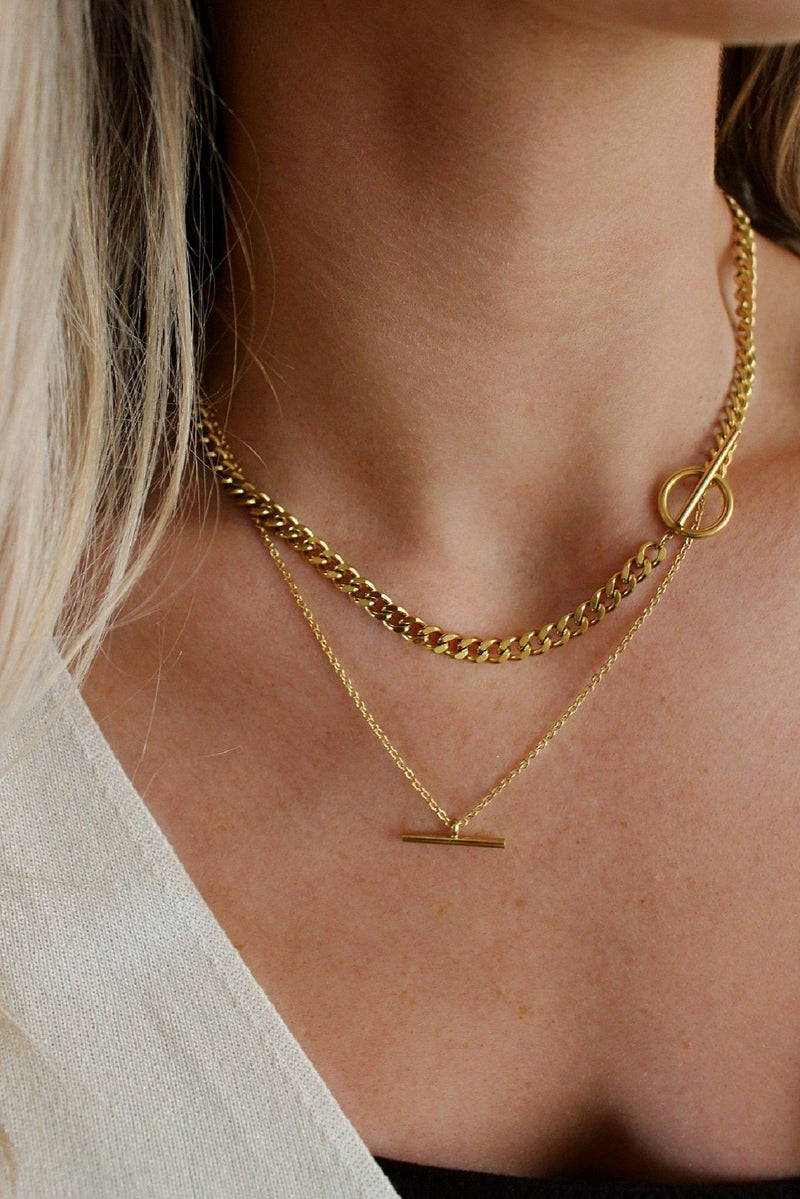 18k Gold T-Bar Circle Chain Necklace Layering Set HAUS OF DECK