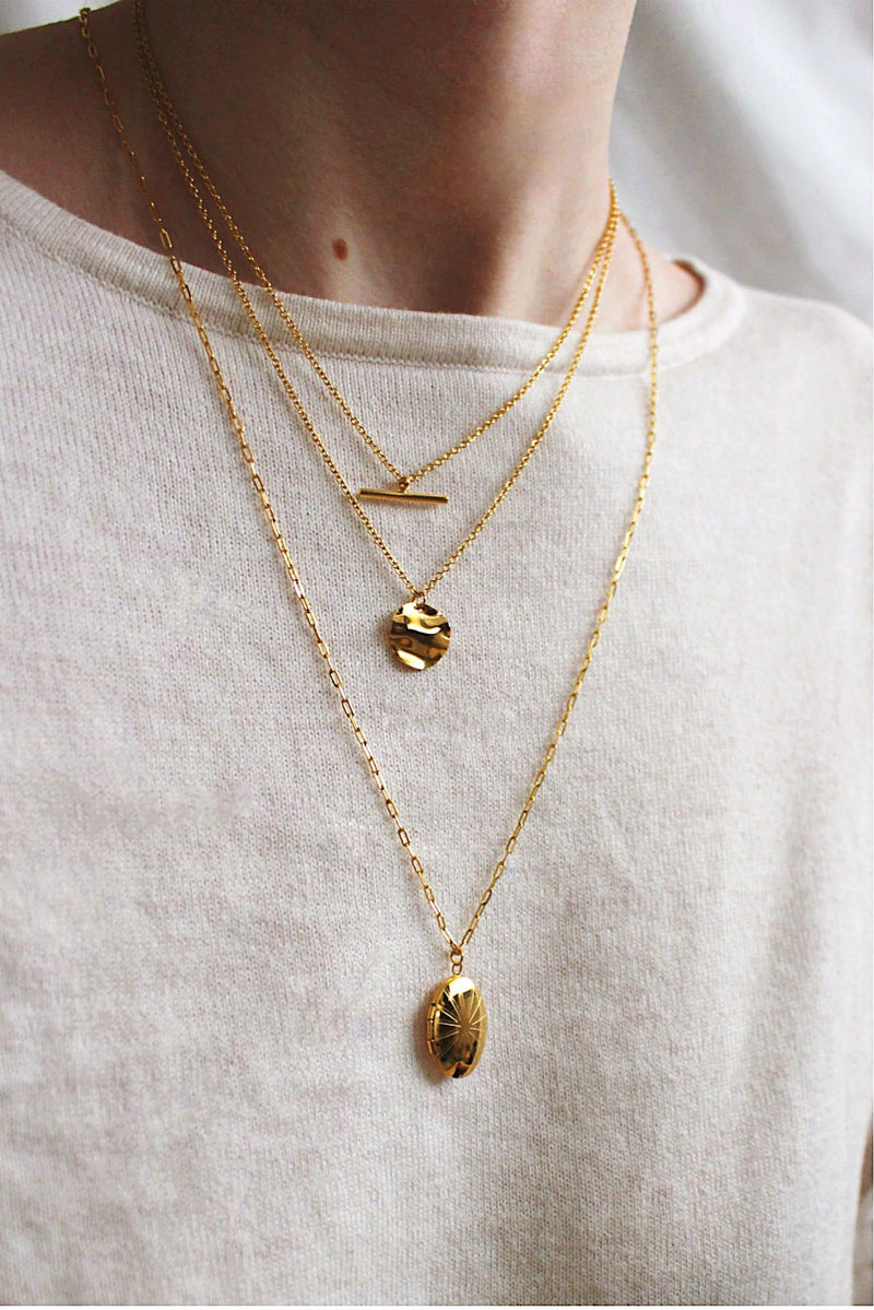 18k Gold Triple Set of Layering Pendant Necklaces HAUS OF DECK