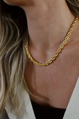18k Gold Plated Rope and Circle Pendant Layering Set