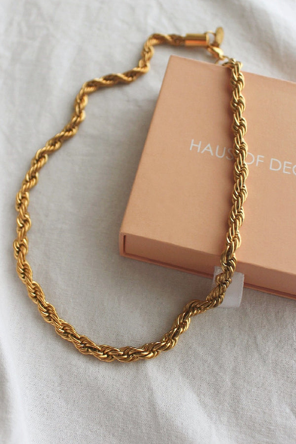 18k Gold Plated Rope Chain Necklace