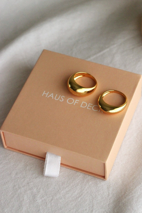 18k Gold Plated Dome Double Ring Set x2
