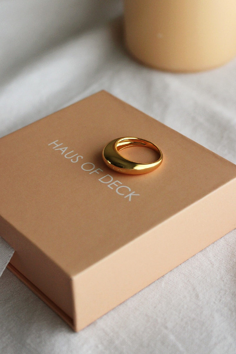18k Gold Plated Skinny Dome Ring