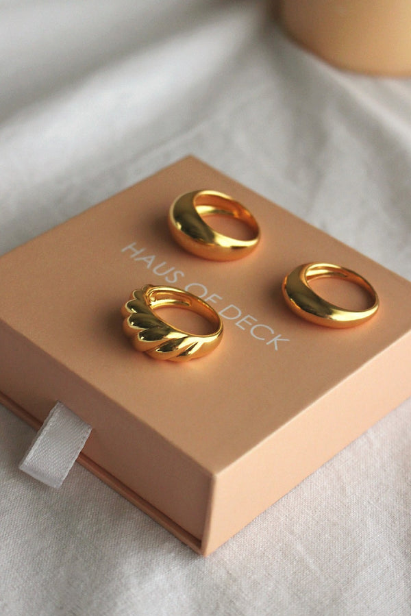 18k Gold Plated Dome Ring Set x3