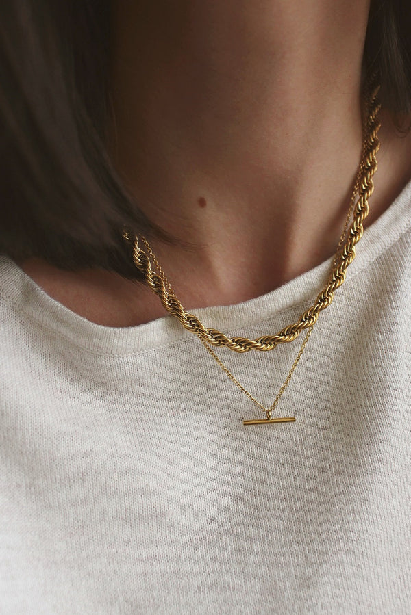 18k Gold Plated Rope Chain Layering Set
