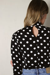 Polka Dot High Neck Blouse with Shirred Sleeves