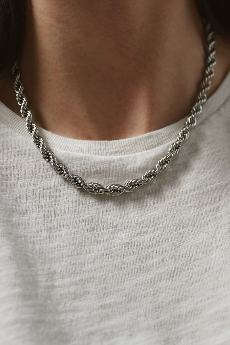 Rhodium Plated Rope Chain Necklace
