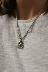 Rhodium Plated Boob Pendant Necklace