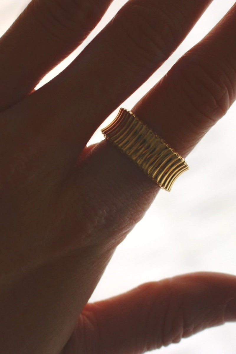 18k Gold Plated Chunky Ribbed Ring