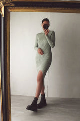 Sage Green Ribbed Knit Dress with Split