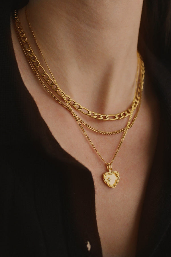 18k Gold Plated Figaro Heart Layering Set