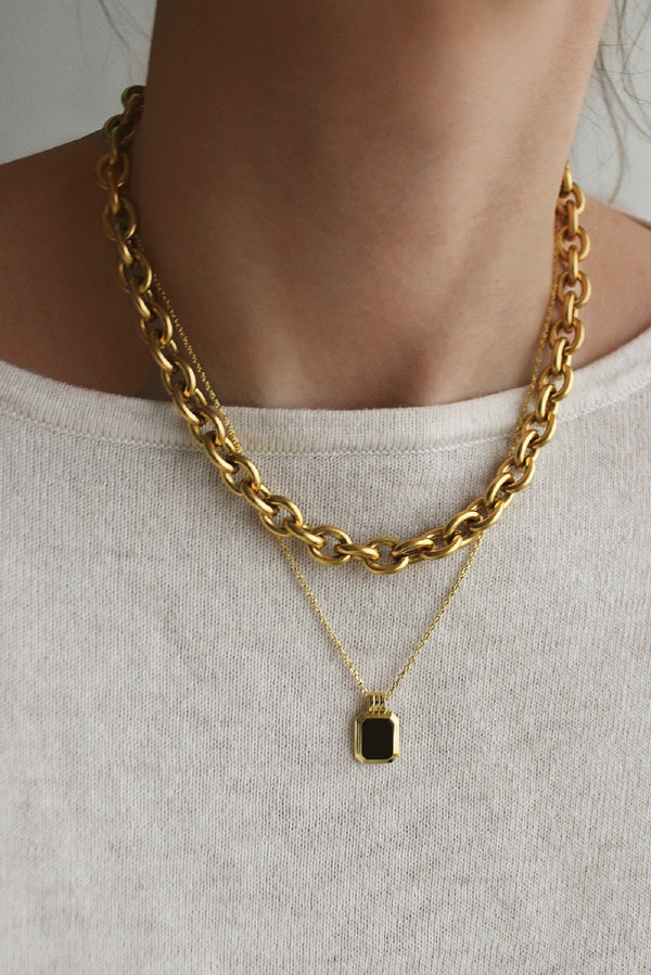 18k Gold Plated Chunky Chain Black Layering Set