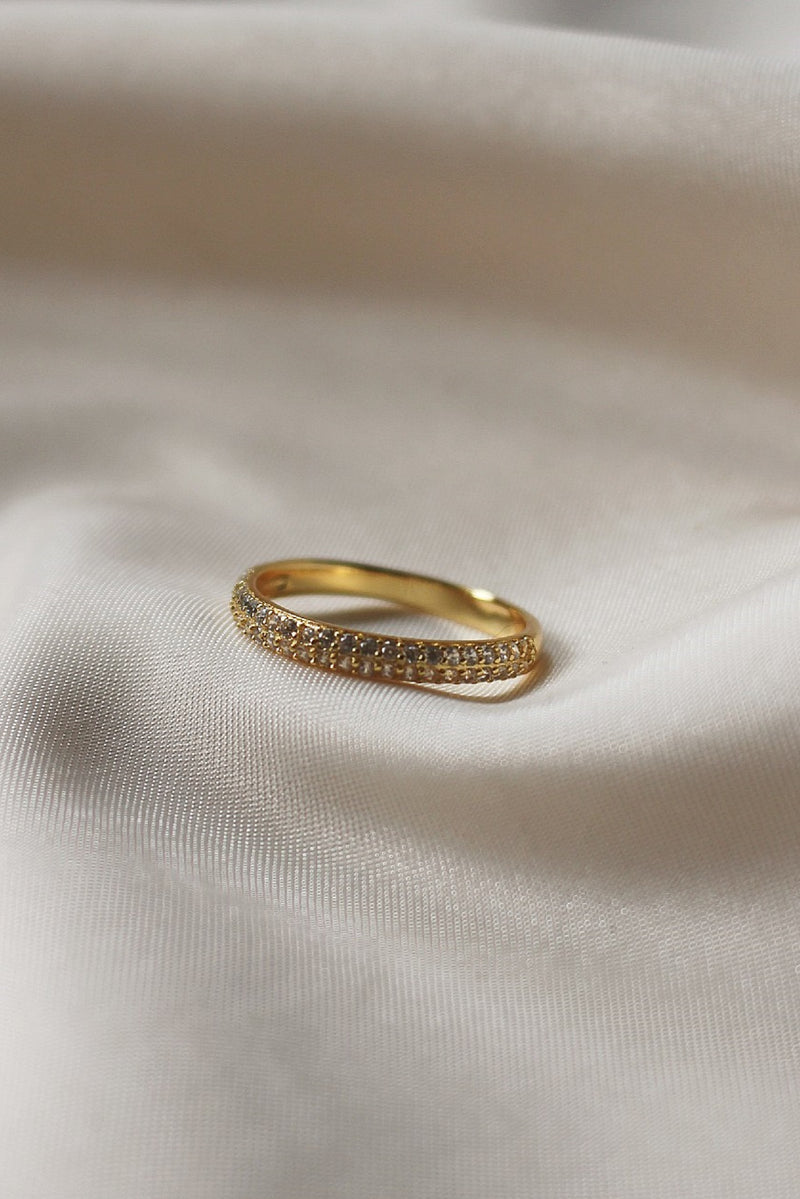 18k Gold Cubic Zirconia Stacking Ring