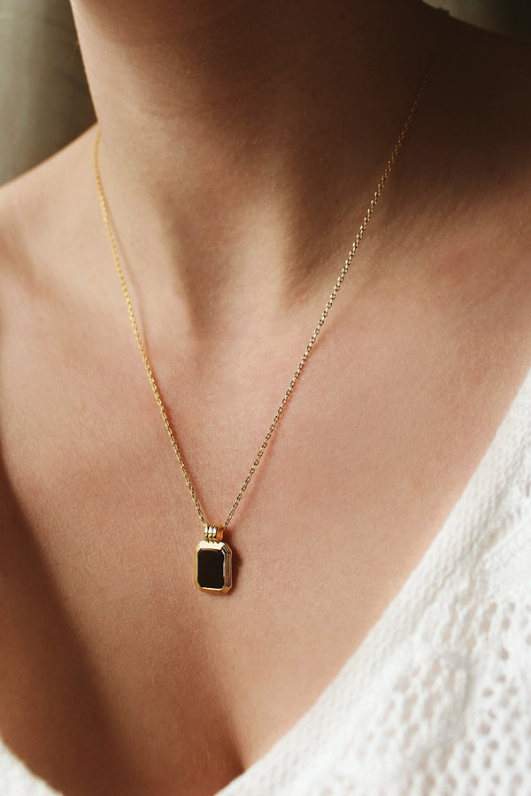 18k Gold Plated Black Pendant Necklace