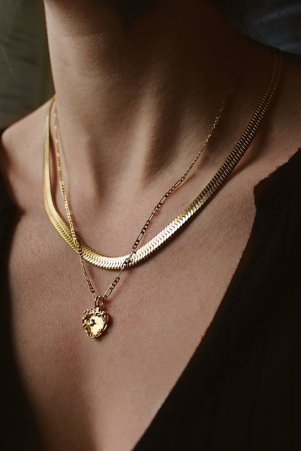 18k Gold Plated Herringbone & Heart Layering Set