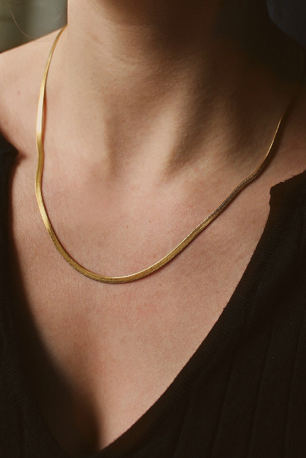 18k Gold Plated Thin Herringbone Chain