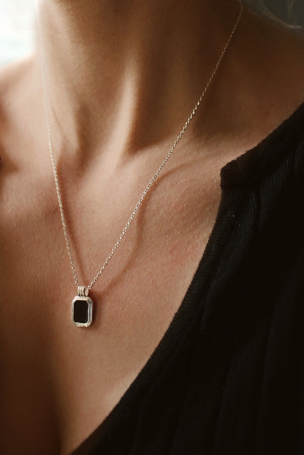 Sterling Silver Plated Black Pendant Necklace