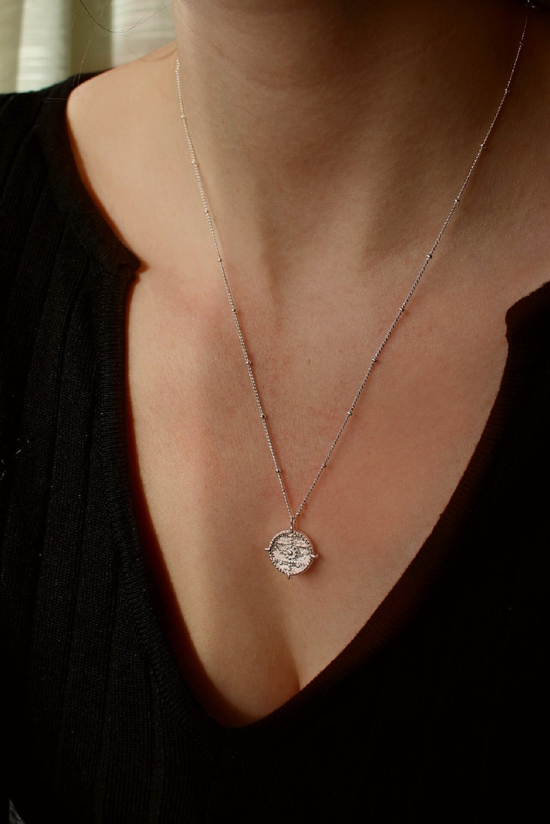 Sterling Silver Medallion Pendant Necklace