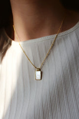18k Gold Plated White Rectangle Pendant Necklace