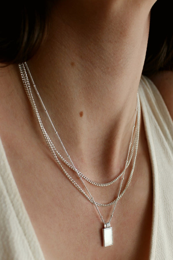 Sterling Silver Plated Barely There White Pendant Layering Set