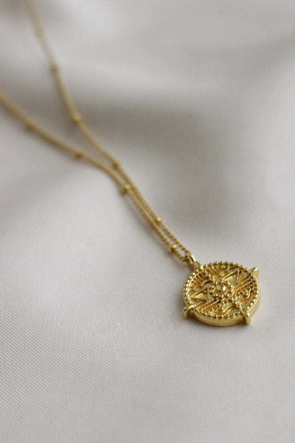 18k Gold Plated Medallion Pendant Necklace