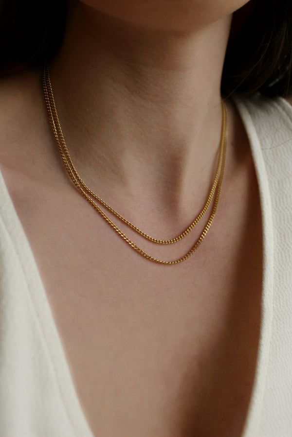 18k Gold Plated Barely There Double Chain