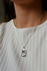 Sterling Silver Rectangle Star Pendant Necklace