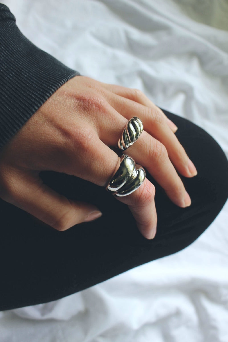 Sterling Silver Plated Baguette Dome Ring