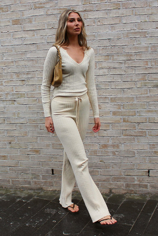 Beige Loungewear Top and Trouser Set