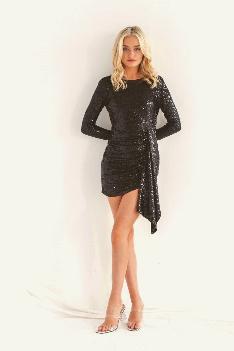 Backless Black Sequin Long Sleeve Dress HAUS OF DECK