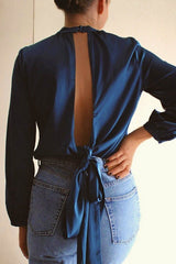 Backless Long Sleeve Top in Blue HAUS OF DECK
