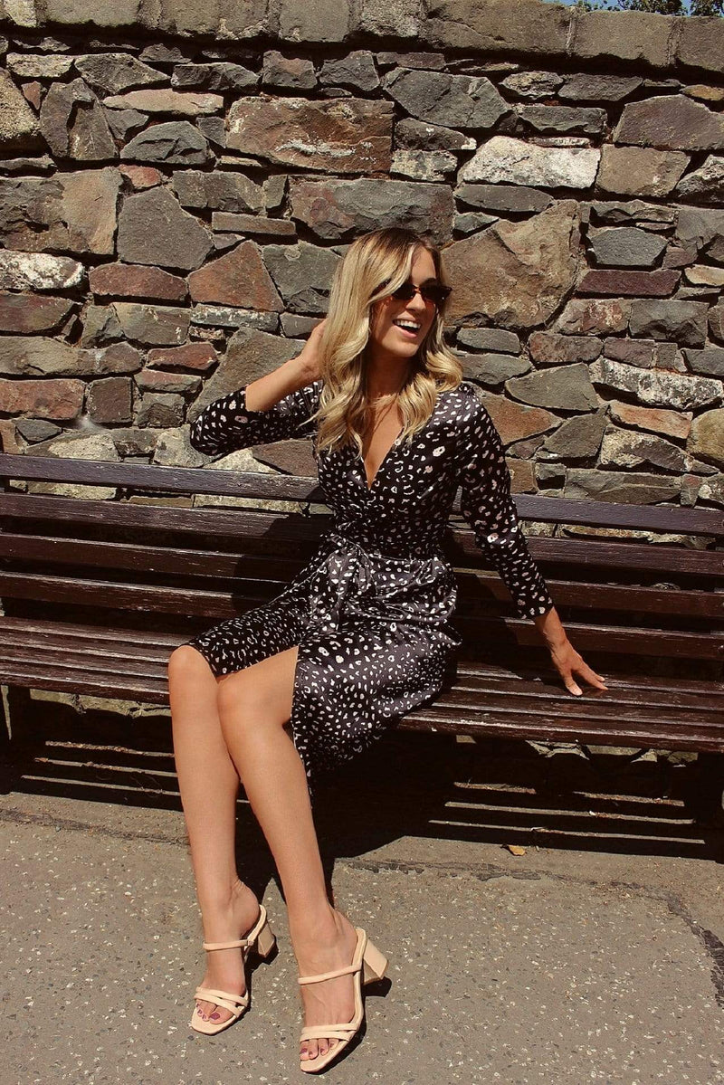 Black and Gold Leopard Print Satin Wrap Dress HAUS OF DECK