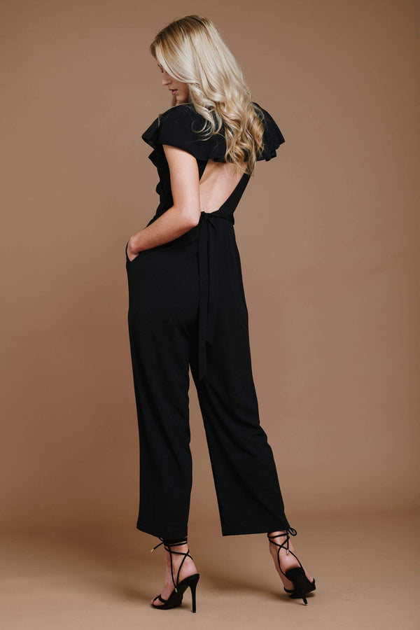 Black Backless Jumpsuit with Pockets HAUS OF DECK