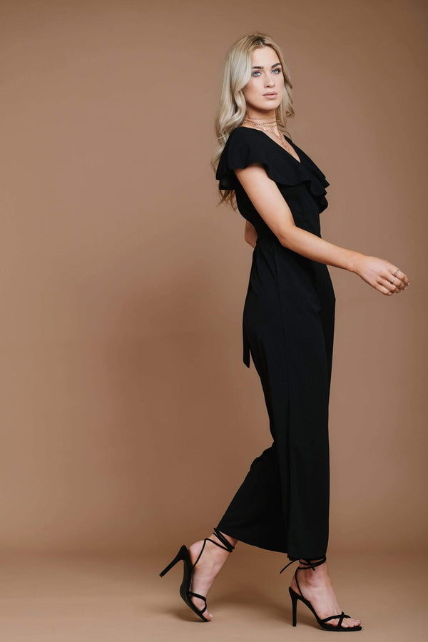 Black Backless Jumpsuit with Pockets HAUS OF DECK UK 12