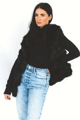 Black Faux Fur Gilet HAUS OF DECK