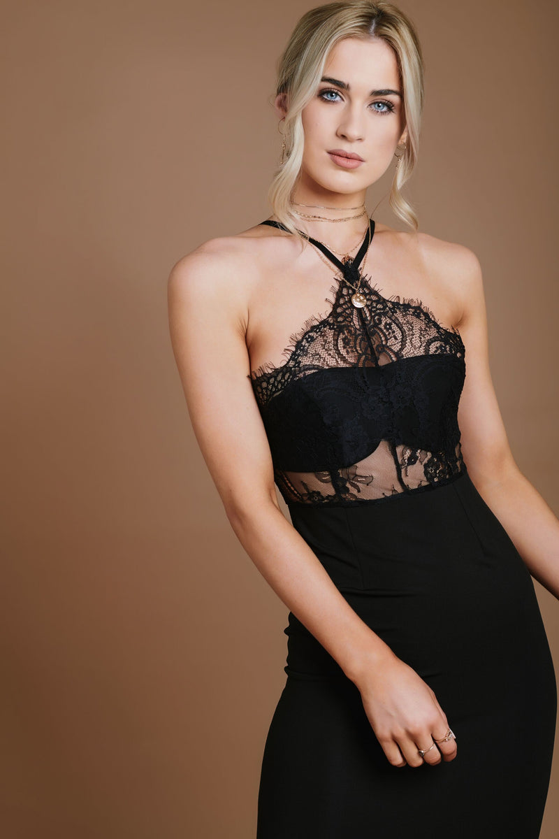 Black Halter Neck Bodycon Dress With Eyelash Lace HAUS OF DECK