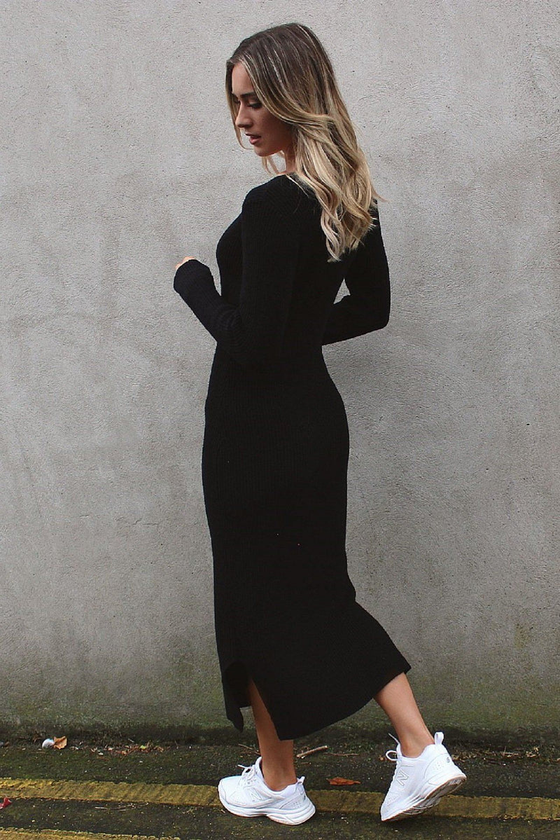 Black Long Sleeve Knit Dress with Split HAUS OF DECK