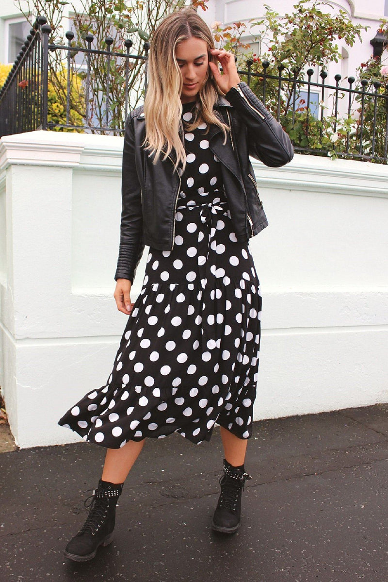 Black Polka Dot Tiered Dress HAUS OF DECK