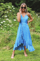 Blue Ditsy Print High Low Maxi Dress HAUS OF DECK