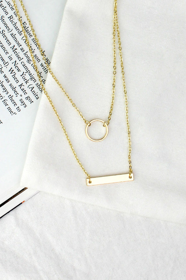 Gold Circle & Bar Layered Necklace HAUS OF DECK