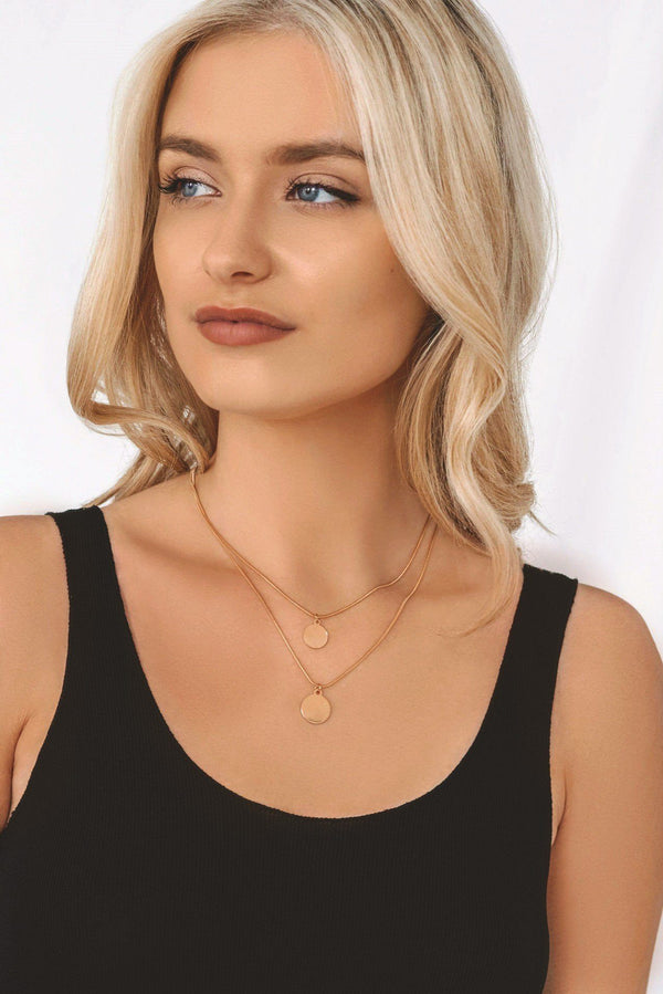 Gold Circle Layer Necklace Set HAUS OF DECK