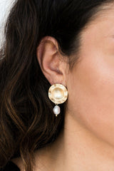 Gold Circle Stud Pearl Drop Earrings HAUS OF DECK