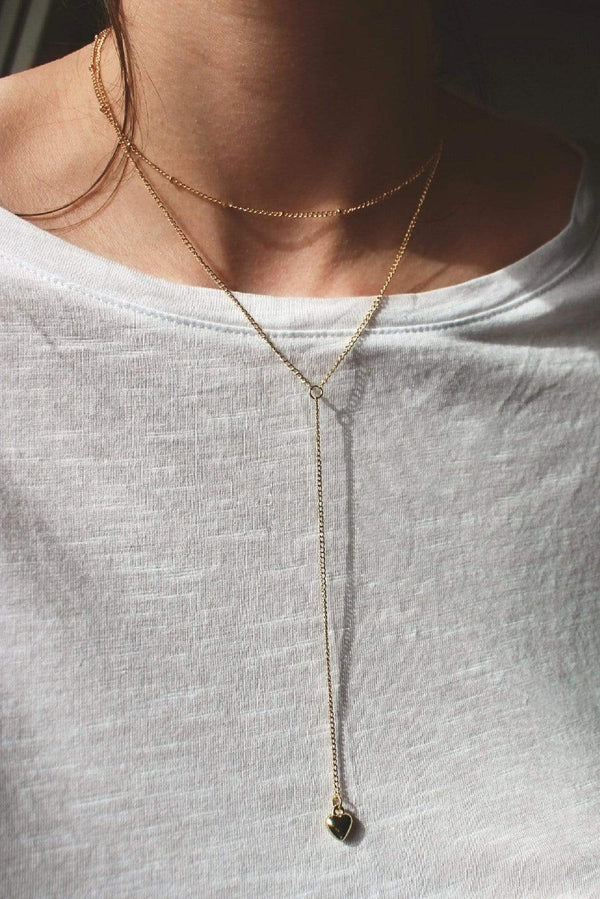 Gold Heart Lariat Necklace HAUS OF DECK