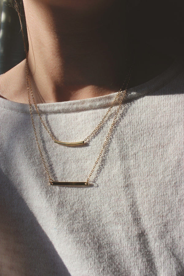 Gold Layered Double Bar Necklace HAUS OF DECK