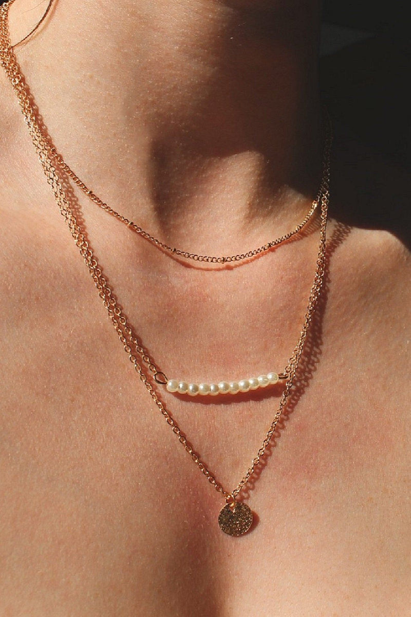 Gold Pearl And Circle Layer Necklace HAUS OF DECK