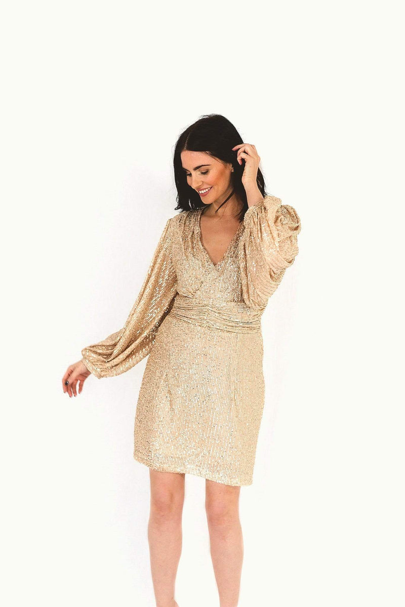 Gold Sequin Dress with Balloon Sleeves HAUS OF DECK
