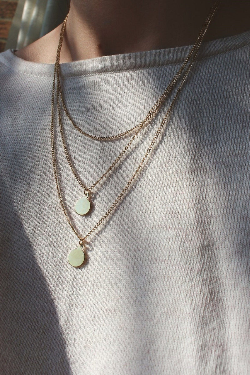 Gold Triple Layer Necklace with Double Mini Circle Pendants HAUS OF DECK