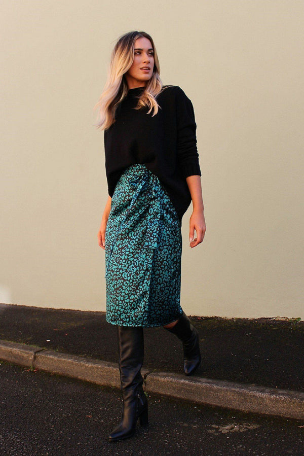 Green Leopard Print Satin Wrap Skirt HAUS OF DECK