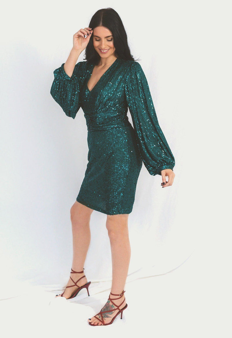 Green Sequin Dress with Balloon Sleeves HAUS OF DECK