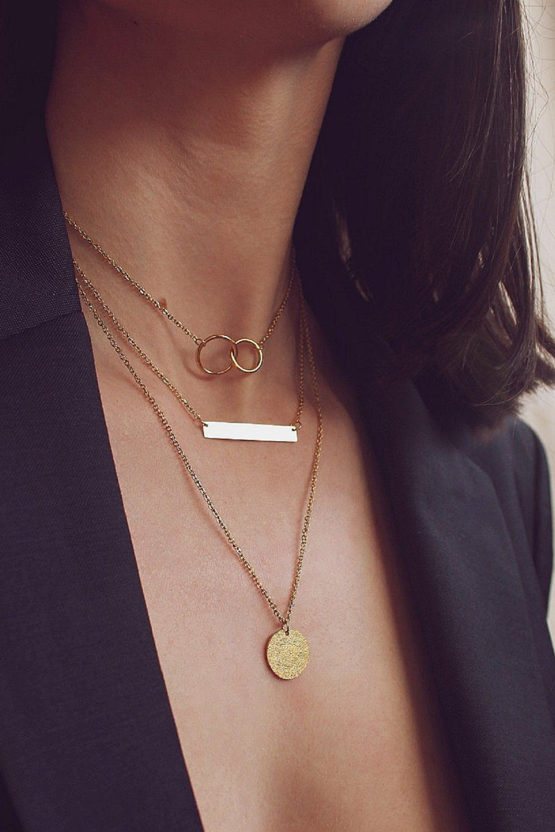 Layered 18k Gold Bar & Circle Necklace HAUS OF DECK