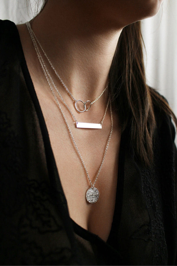 Layered Sterling Silver Bar & Circle Necklace HAUS OF DECK